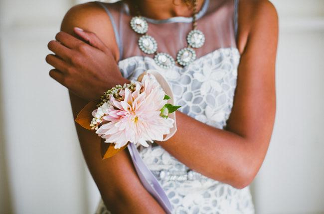 dahlia flower wristlet