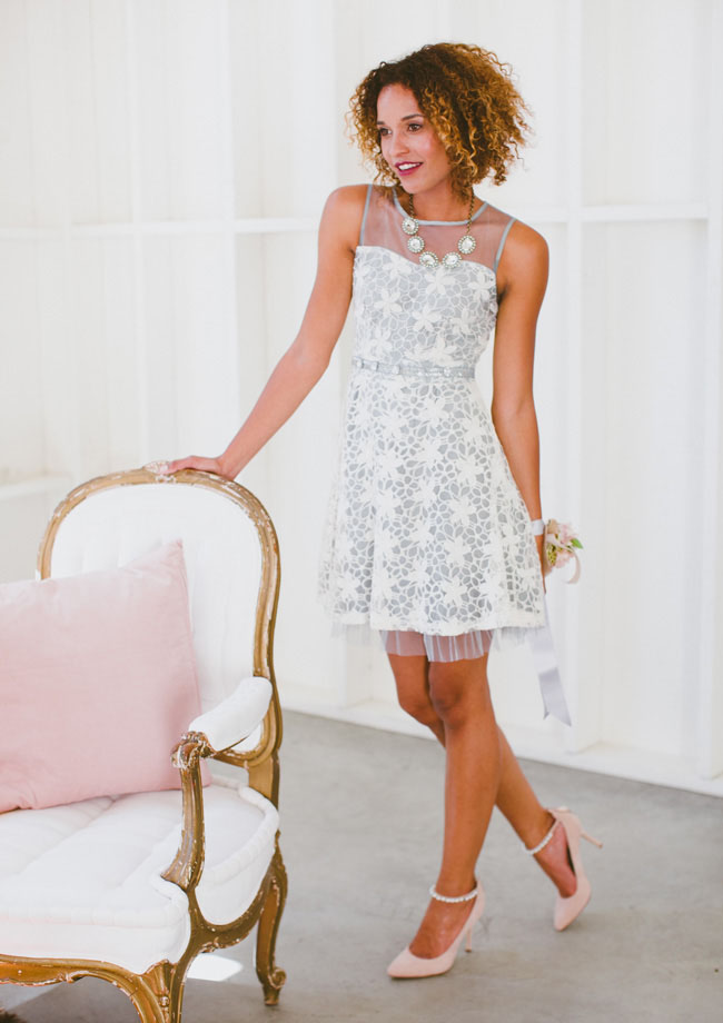 blue and white lace dress