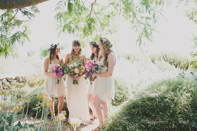 boho bridesmaids in ojai