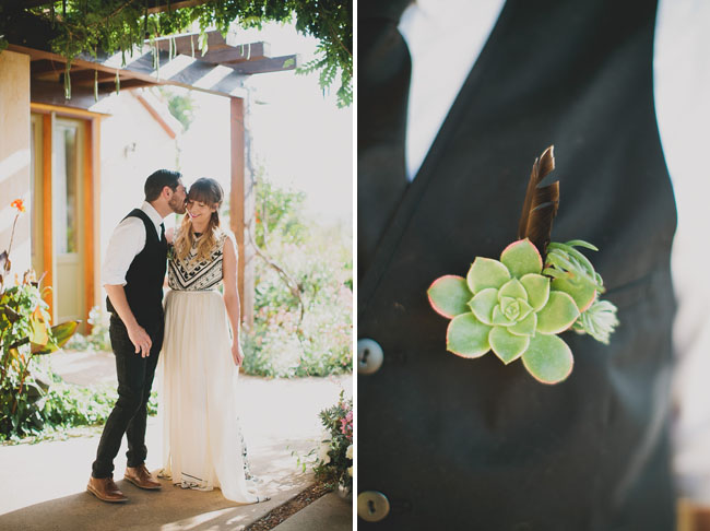 succulent feather boutonniere
