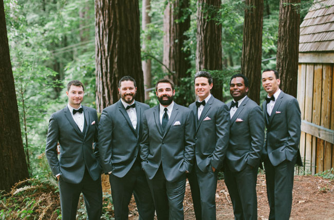groomsmen in the woods