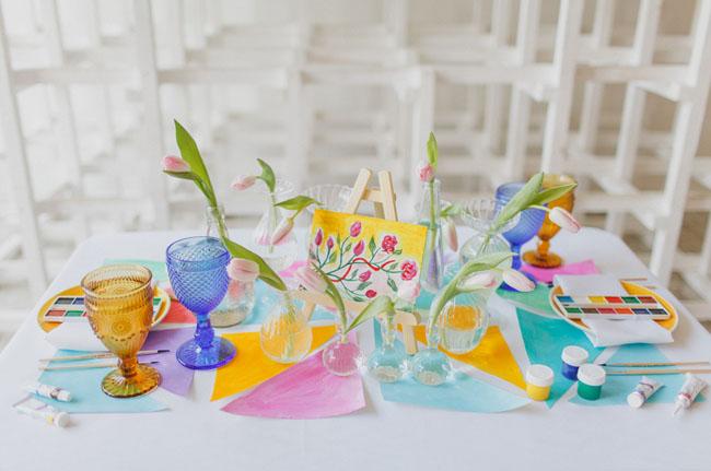 watercolor tablescape