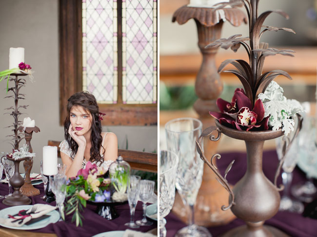 winter burgundy tablescape