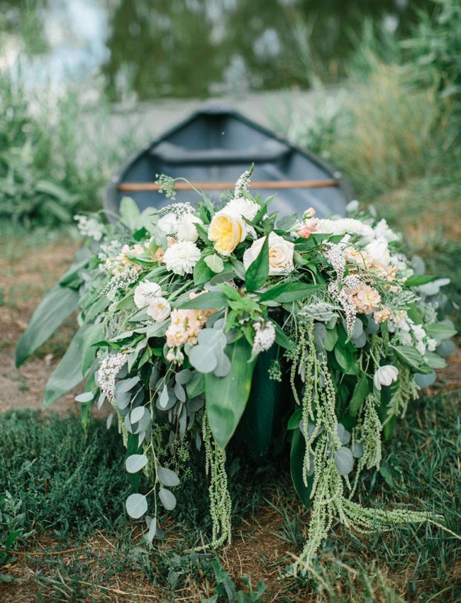 flower filled canoe