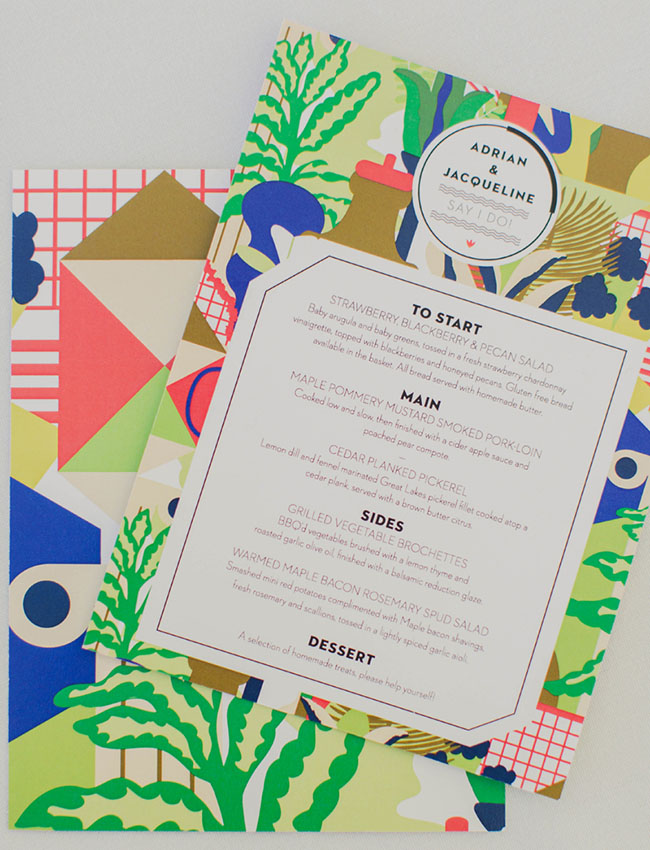 colorful pattern menu