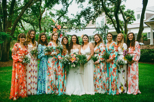 Maxi floral bridesmaid dresses