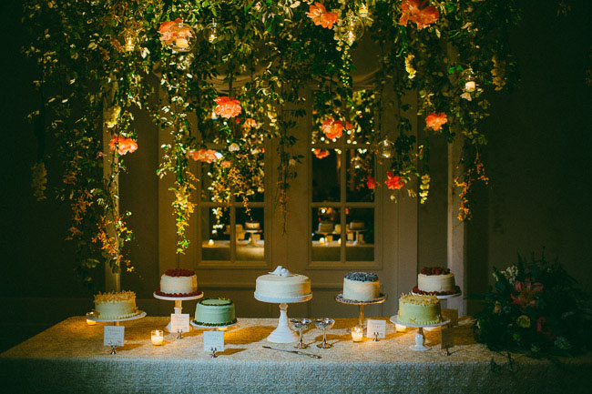 hanging peony cake table