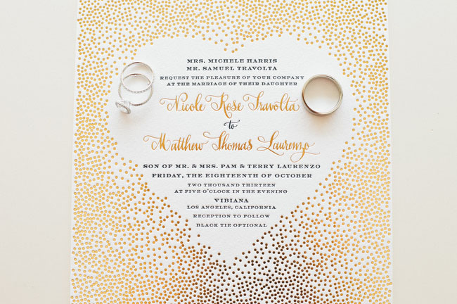gold heart invitation