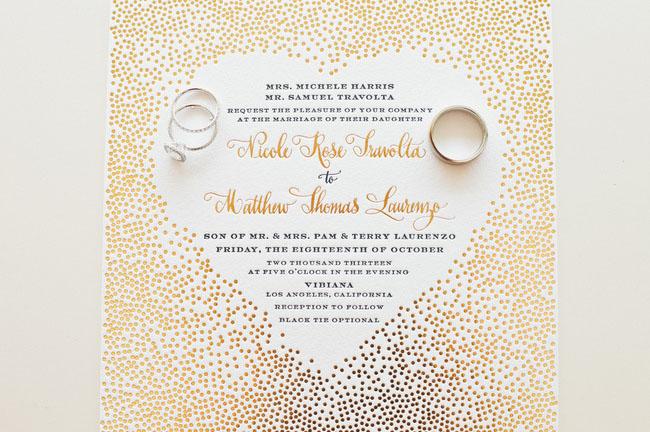 gold heart invitation