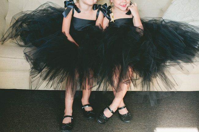 black tulle flower girls