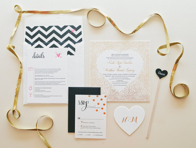 black and gold chevron invitation