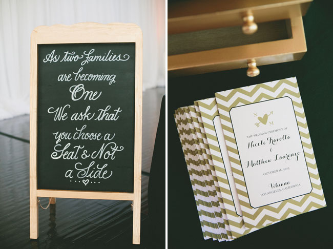gold chevron wedding programs