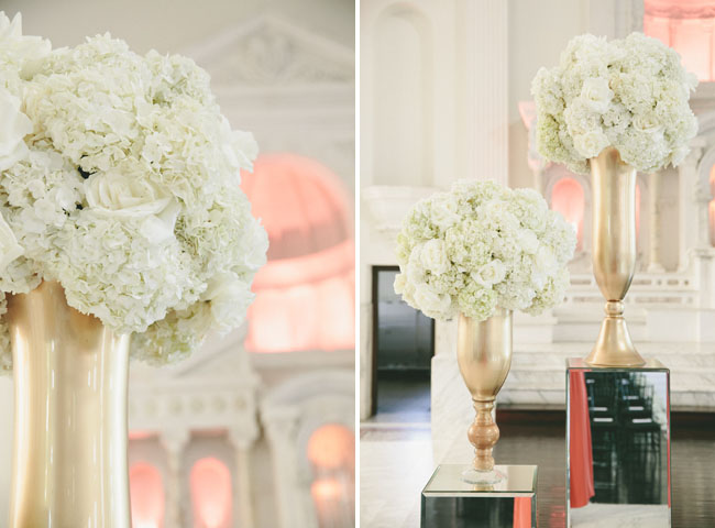 gold and white ceremony florals