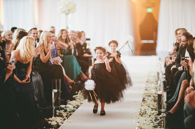 black tulle flower girls