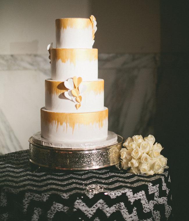 gold dipped wedding cake