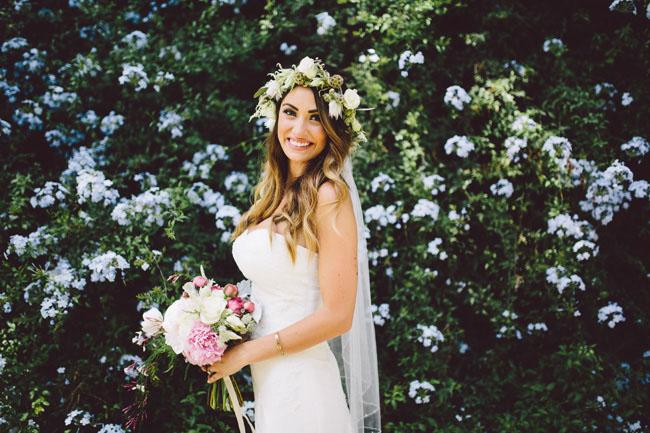 boho flower crown bride