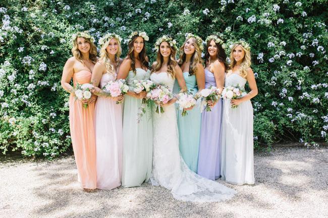 pastel maxi flower crown bridesmaids