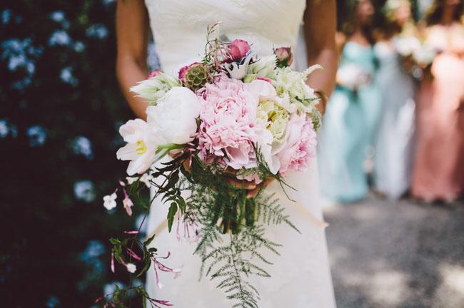 boho pink peony bouquet