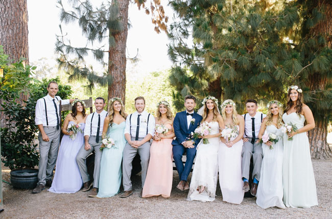 boho barn wedding party
