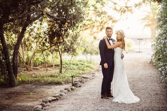 boho barn bride and groom