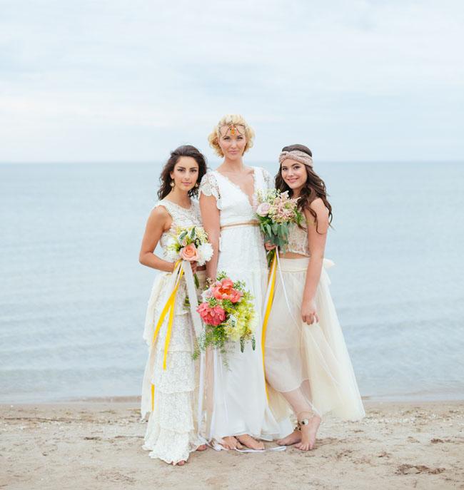 Beachy bohemian wedding inspiration green wedding shoes for Beach wedding photos