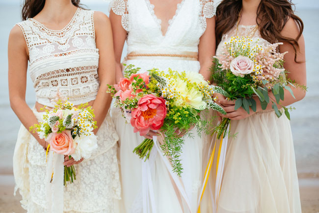pink and yellow bouquets
