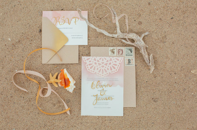 boho beach gold invitation