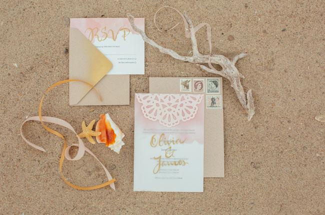 boho beach gold invitation