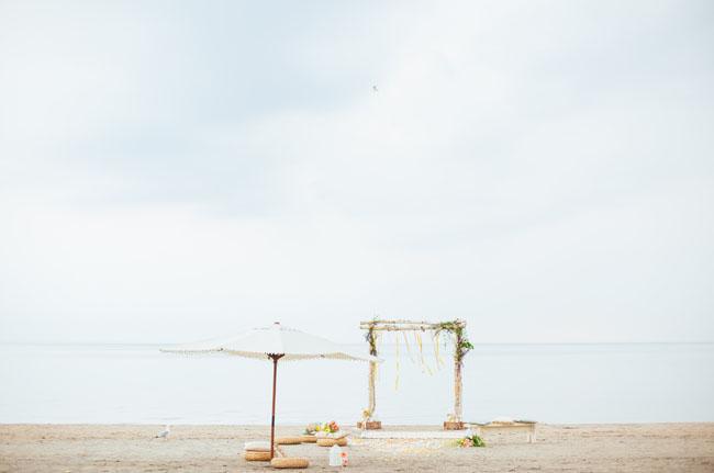 boho ceremony on the beach