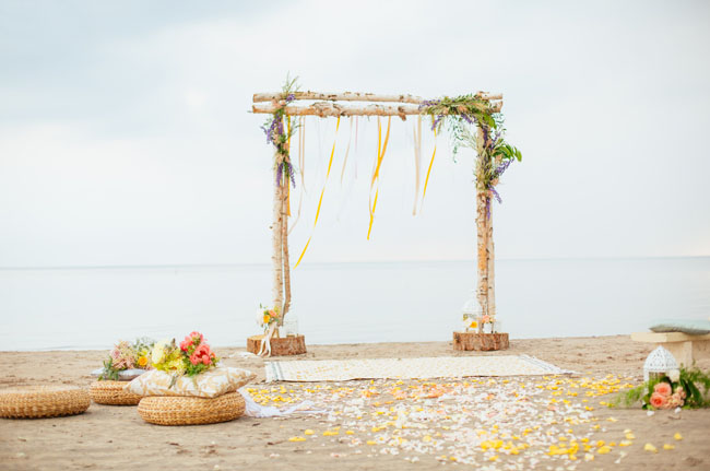 boho ceremony on the beach
