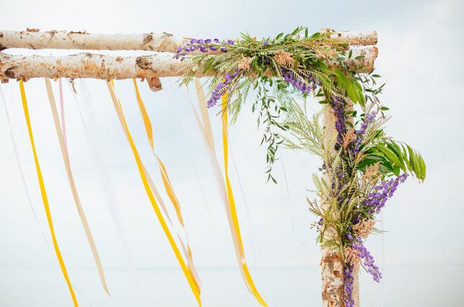 boho floral and ribbon backdrop