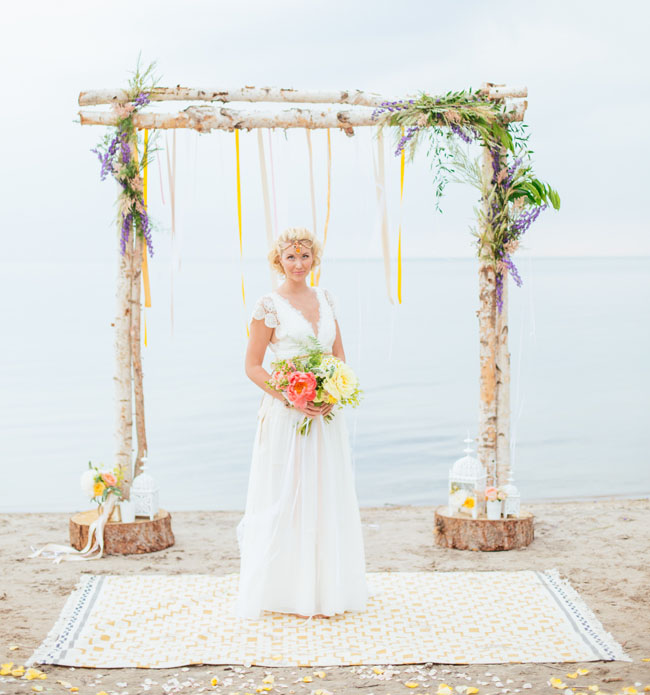 boho floral and ribbon backdrop