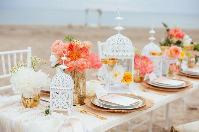 white lantern table decor