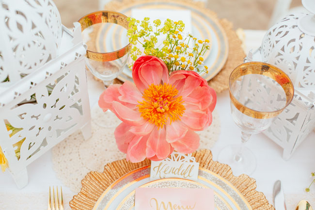 coral peony table decor