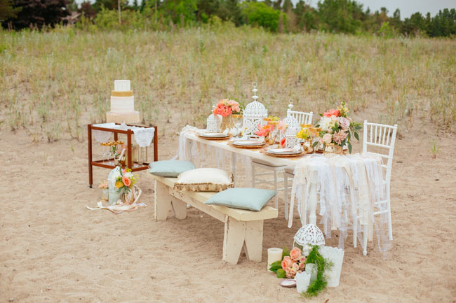 boho beach tablescape