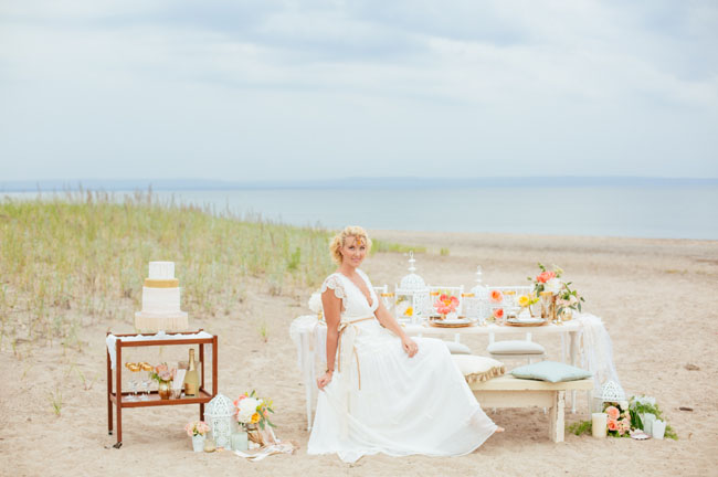 boho beach tablescape