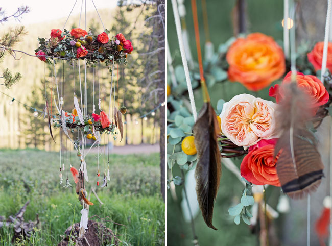 boho camping flower chandelier