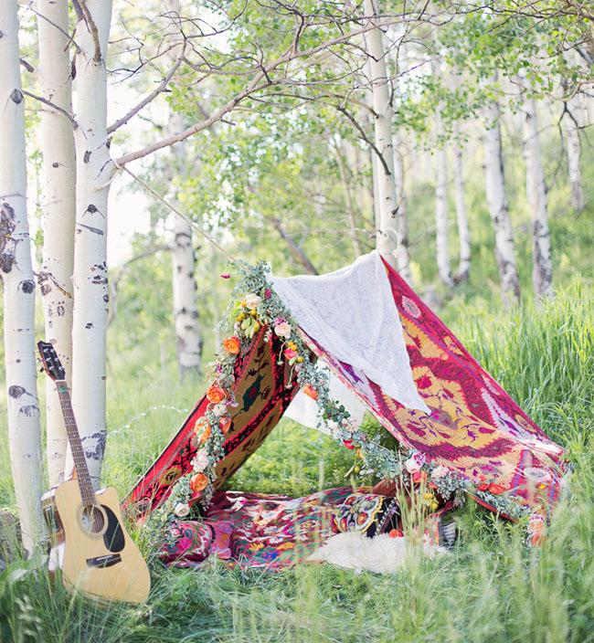 boho tent flower garland