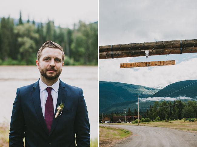 camp wedding groom