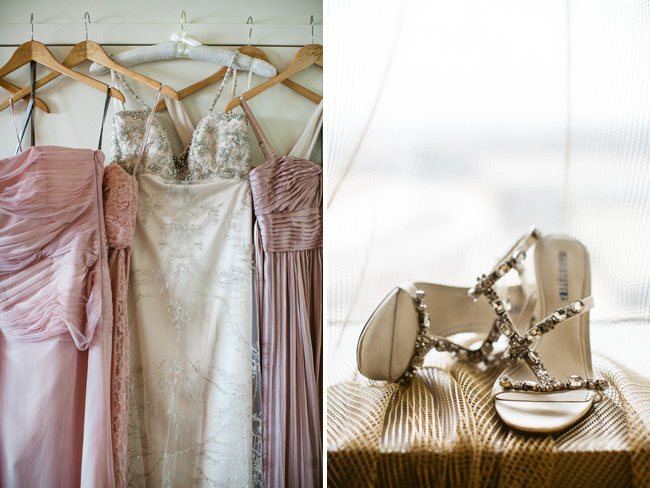 bride and bridesmaids dresses hanging
