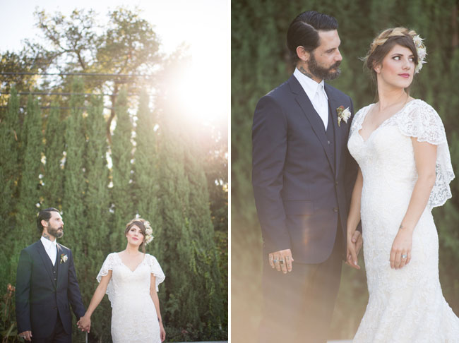 bohemian romance bride and groom