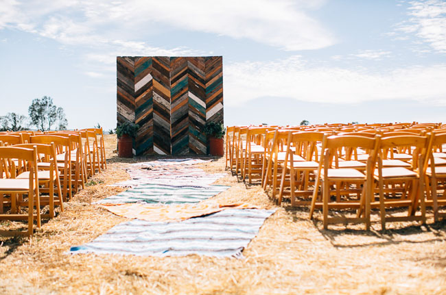 chevron wood ceremony backdrop