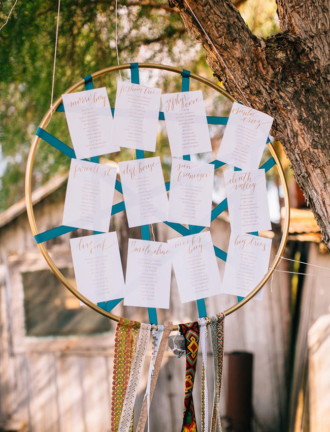 dreamcatcher escort card display
