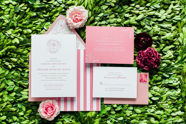 Fall preppy pink invitation