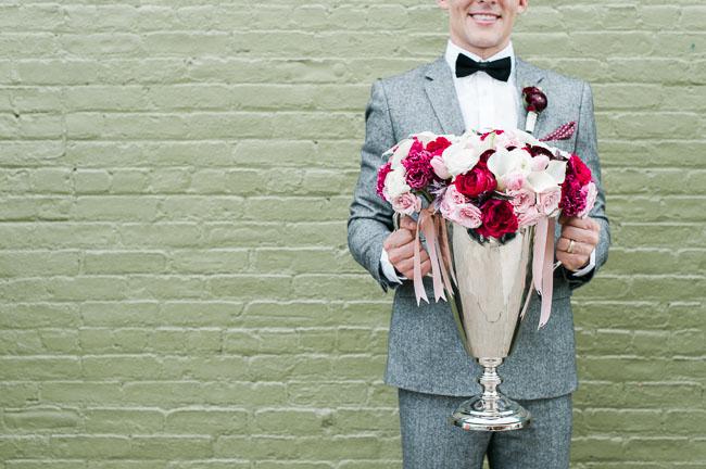 trophy vase of flowers