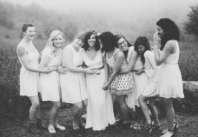 bridesmaids in a field