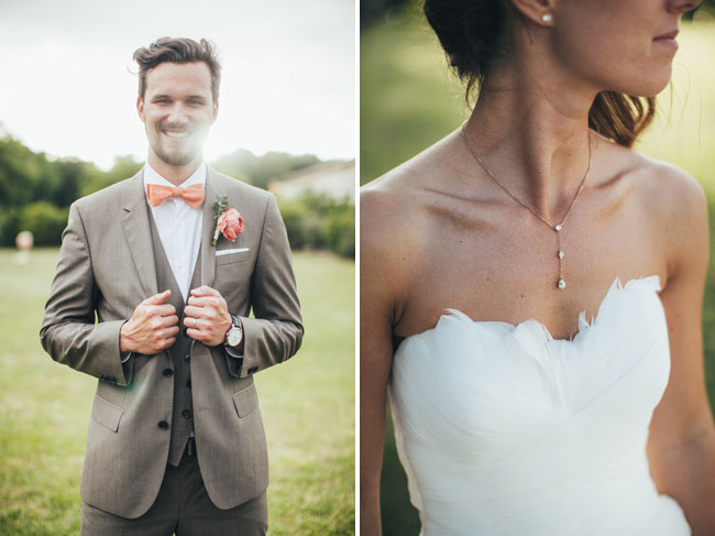 peach bow tie groom