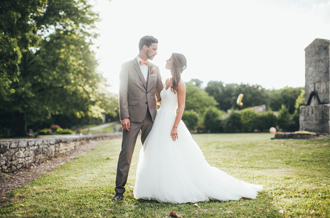 French countryside bride and groom