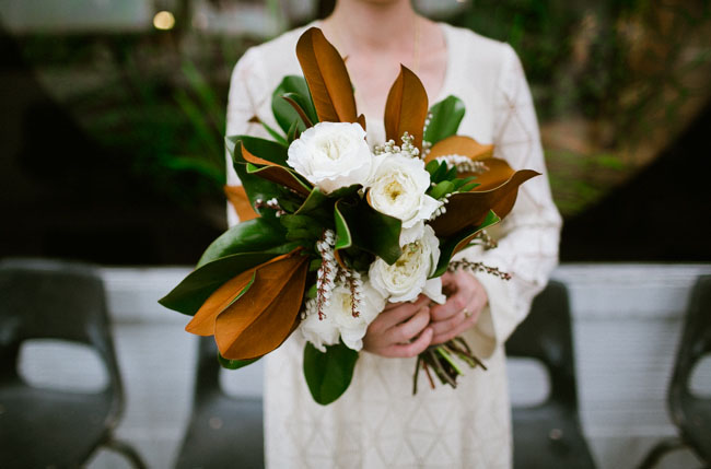 whimsical leaf and rose bouquet