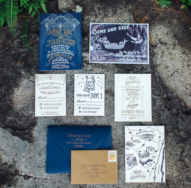 indigo blue invitation set